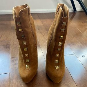 JustFab Suede Booties with gold studs boots